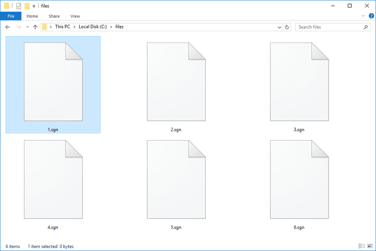 Screenshot of several SGN files in Windows 10