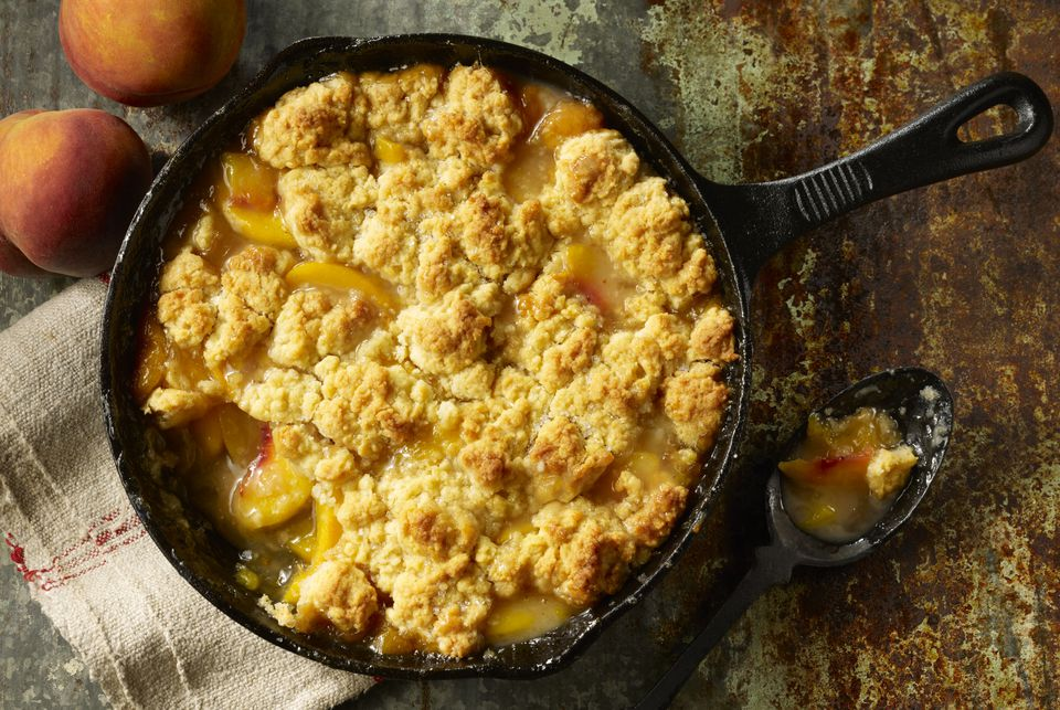 Overhead View of Skillet Of Peach Cobbler
