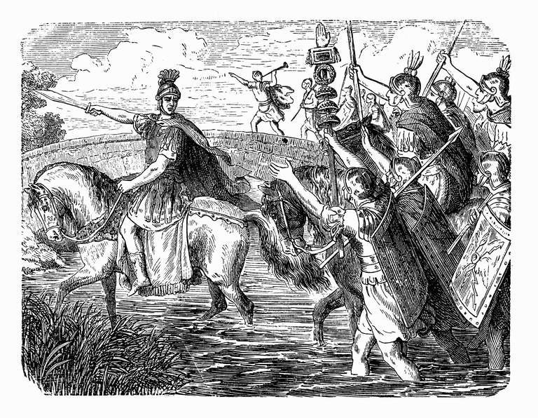 Julius Caesar leading his army across the Rubicon