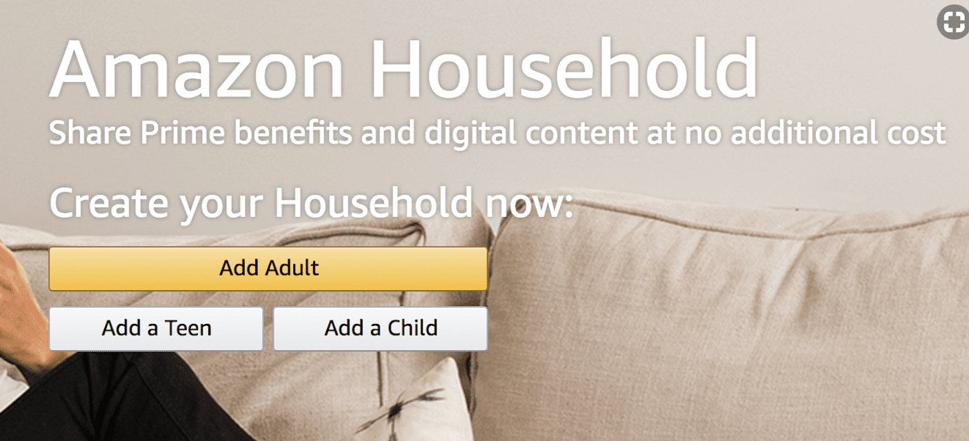 Screenshot of the Amazon Household sign-up page, with buttons to Add Adult, Add a Teen or Add a Child