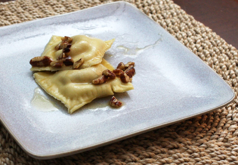 Sweet Potato Ravioli With Brown Butter Pecan Sauce