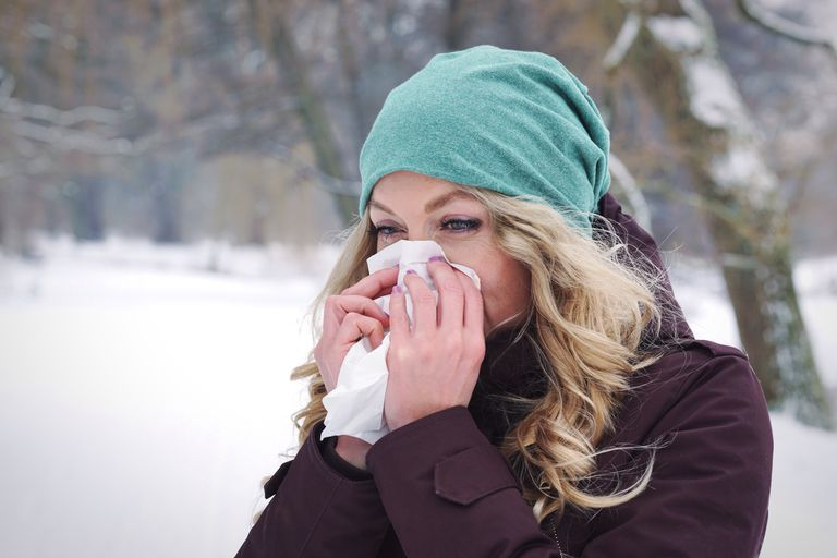 Woman Blowing Nose During Winter