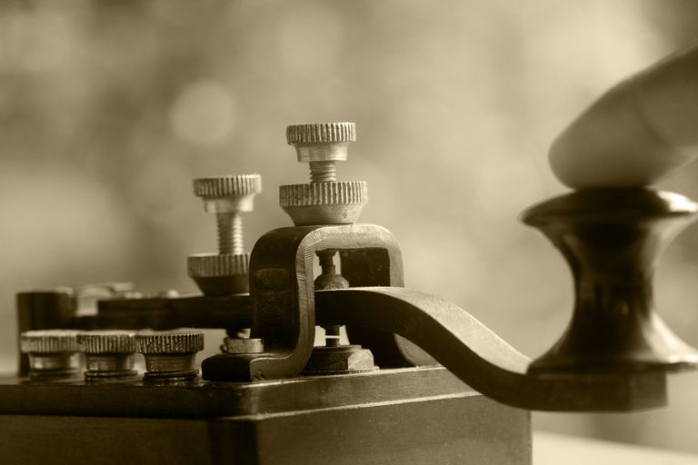 The telegraph transmits Morse code so people can communicate over large distances.