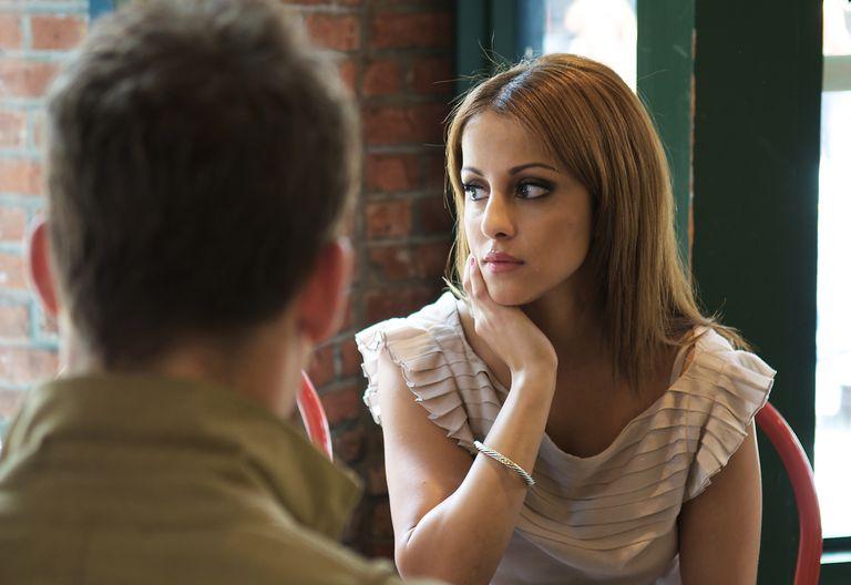 Woman thinking about man.