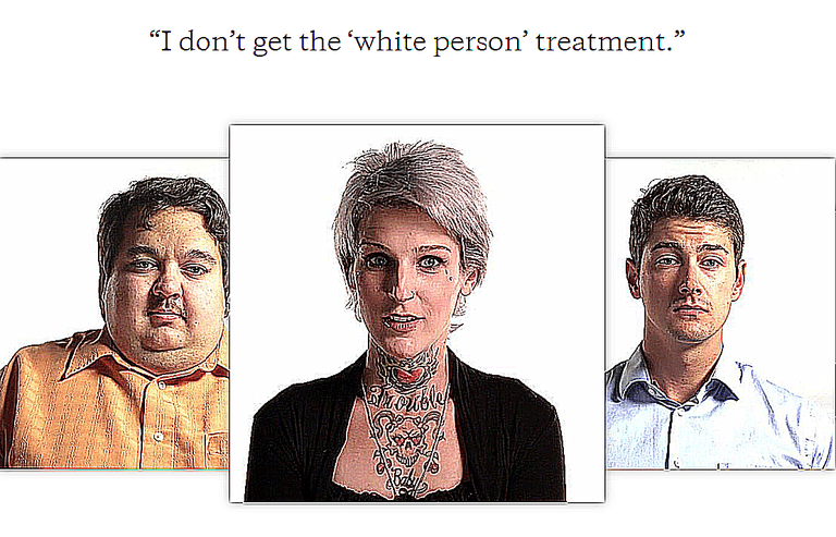 A screen grab from The Whiteness Project, and online interactive set of video testimonials from white people about what it means to be white. Many have no idea how much privilege they hold.