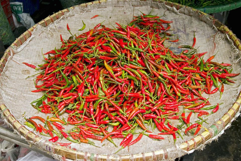 Thai chili peppers in marketplace