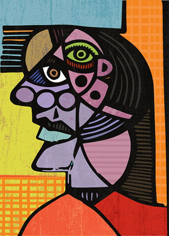 Picasso Cubist Head Painting