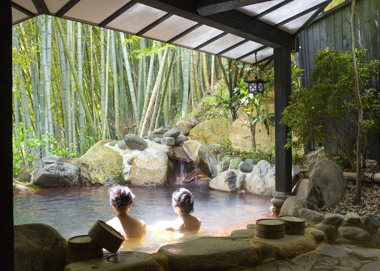 Women bathing at hot spring resort