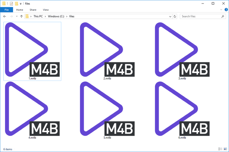 Screenshot of several M4B files in Windows 10 that open with PotPlayer
