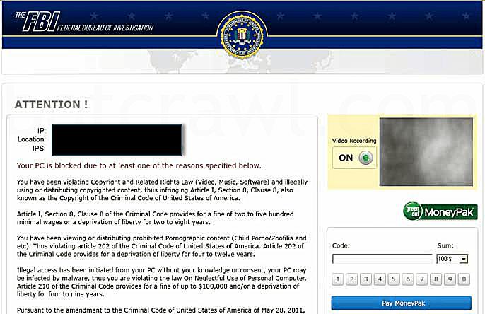 FBI Virus Alert Message