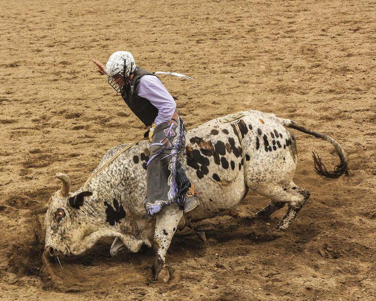 Galisteo Rodeo, bull rider, Sant Fe, New Mexico, USA