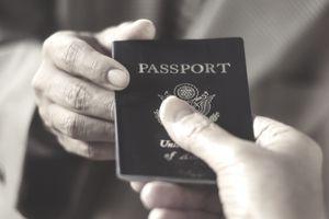 Man showing passport, close-up
