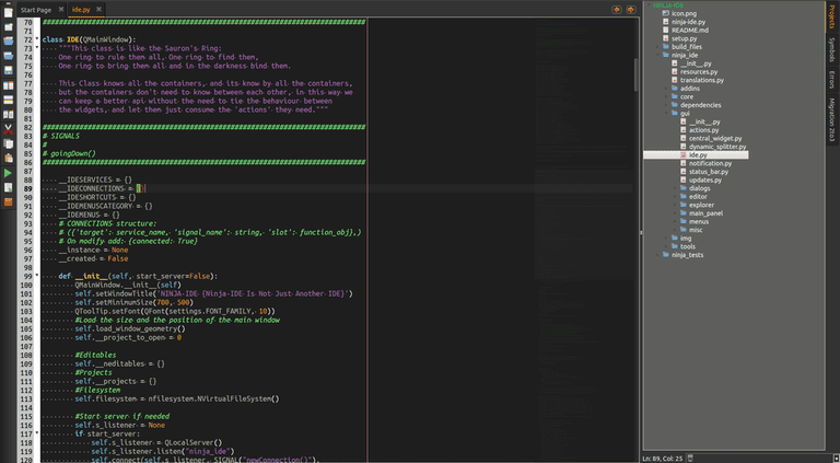 Screenshot of IDE editor
