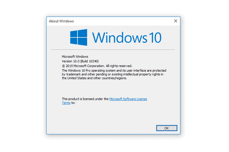 Screenshot of a Windows 10 About Windows Dialog Box