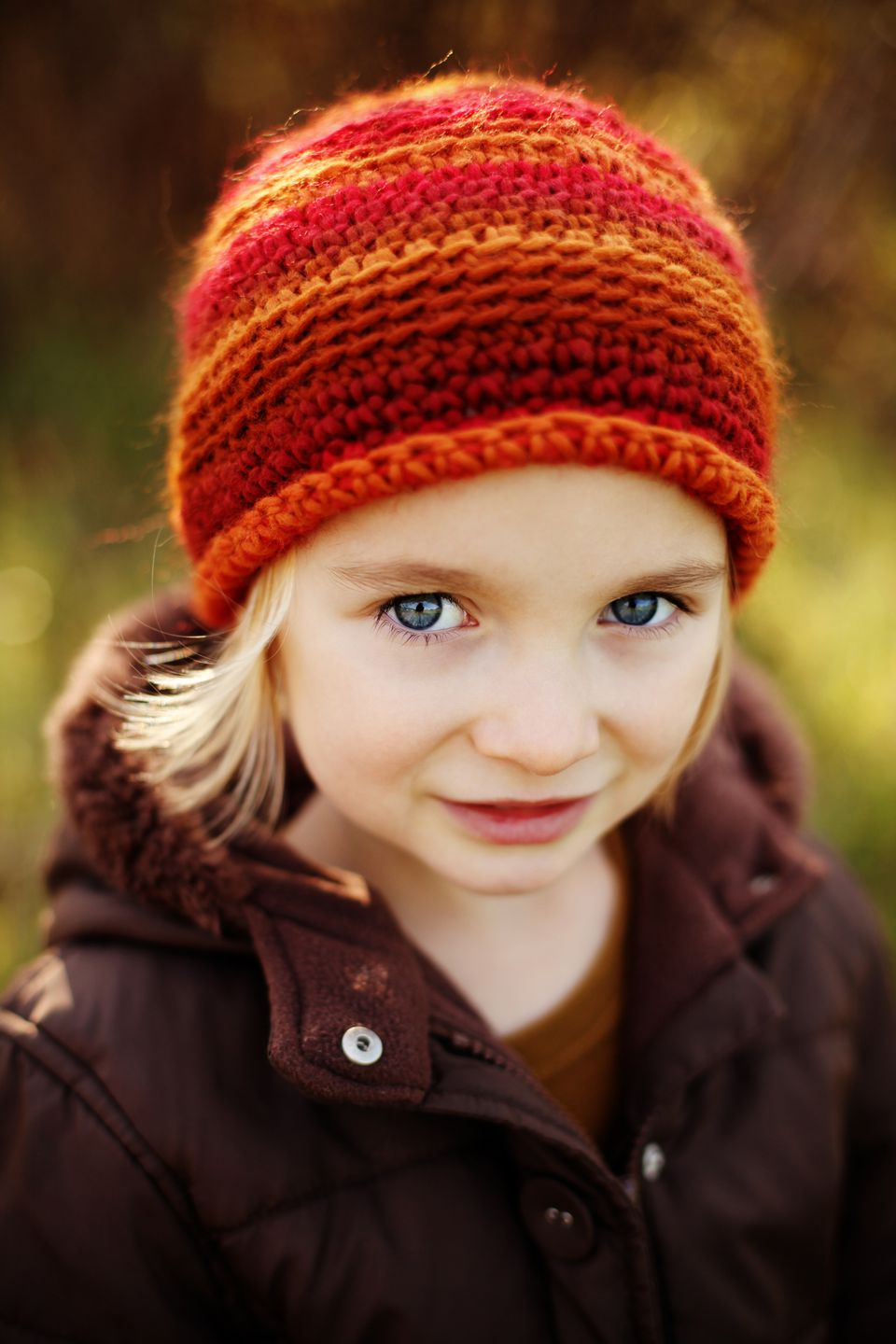 Girl wearing crochet hat