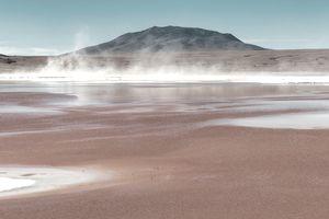 Panoramic view of Laguna Colorada in the Bolivian Altiplano , Bolivia