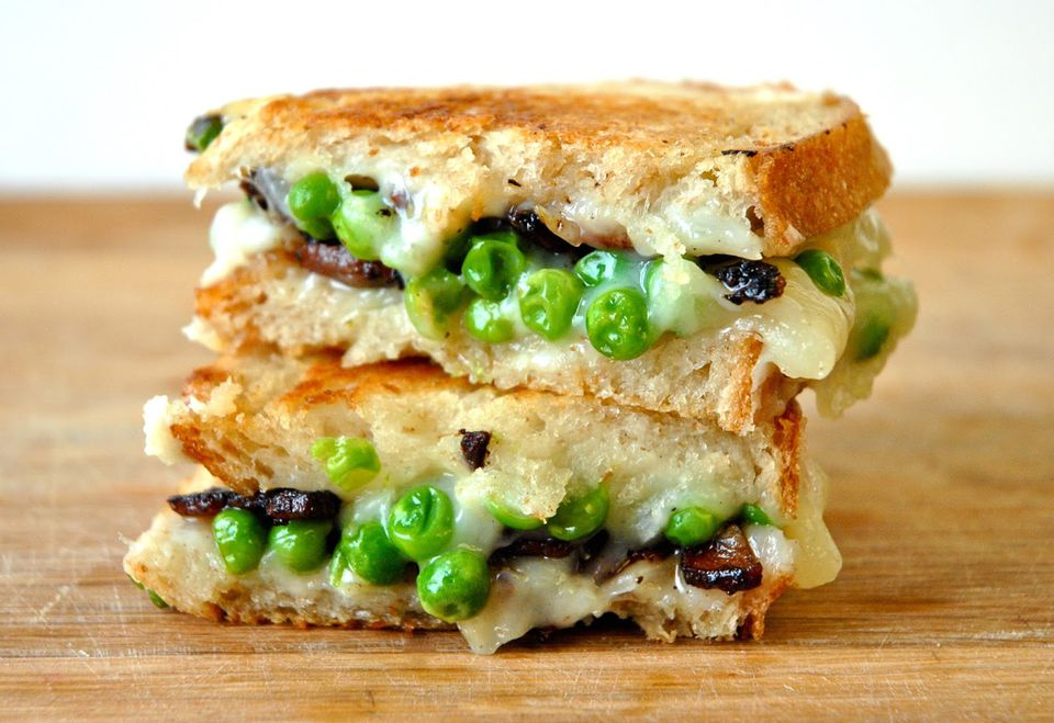Goat Tomme Grilled Cheese with Sweet Peas and Bacon