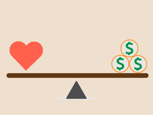 Scale balancing heart and money
