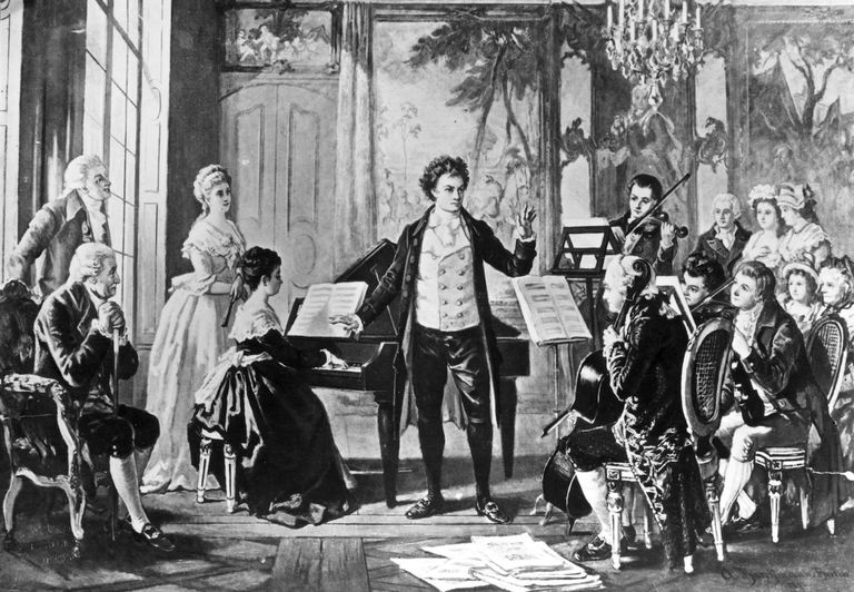 German composer Ludwig Van Beethoven (1770 - 1827) with the Rasowmowsky Quartet, drawn by the artist Borckmann.