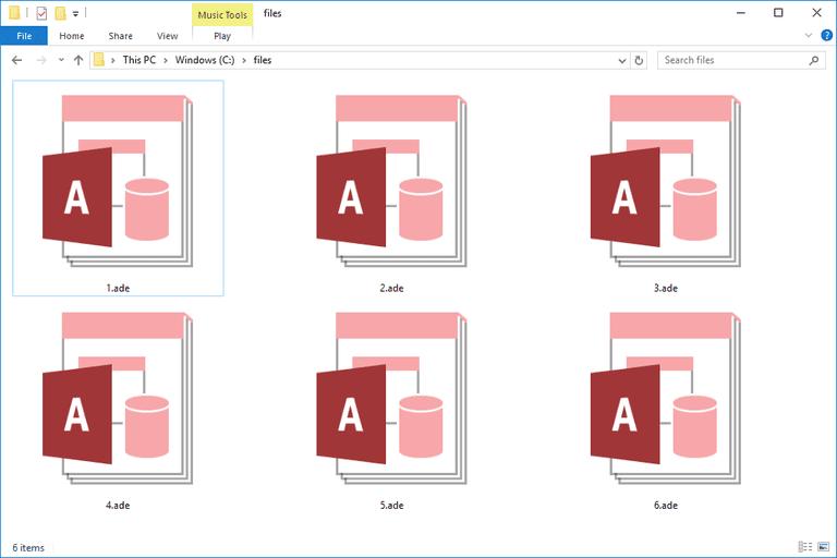 Screenshot of several ADE files in Windows 10