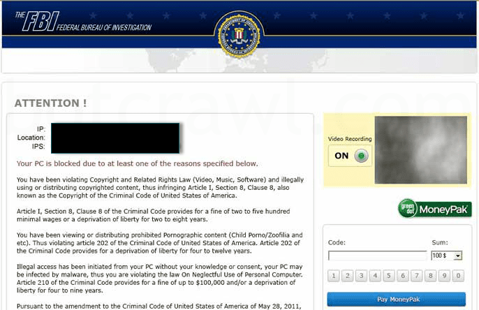 FBI Virus Alert Message
