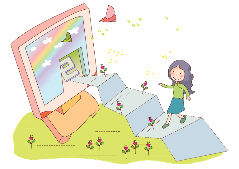 Girl learning computer concept