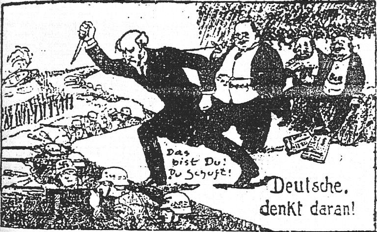 1924 Cartoon Portraying the Stab in the Back by the November Criminals