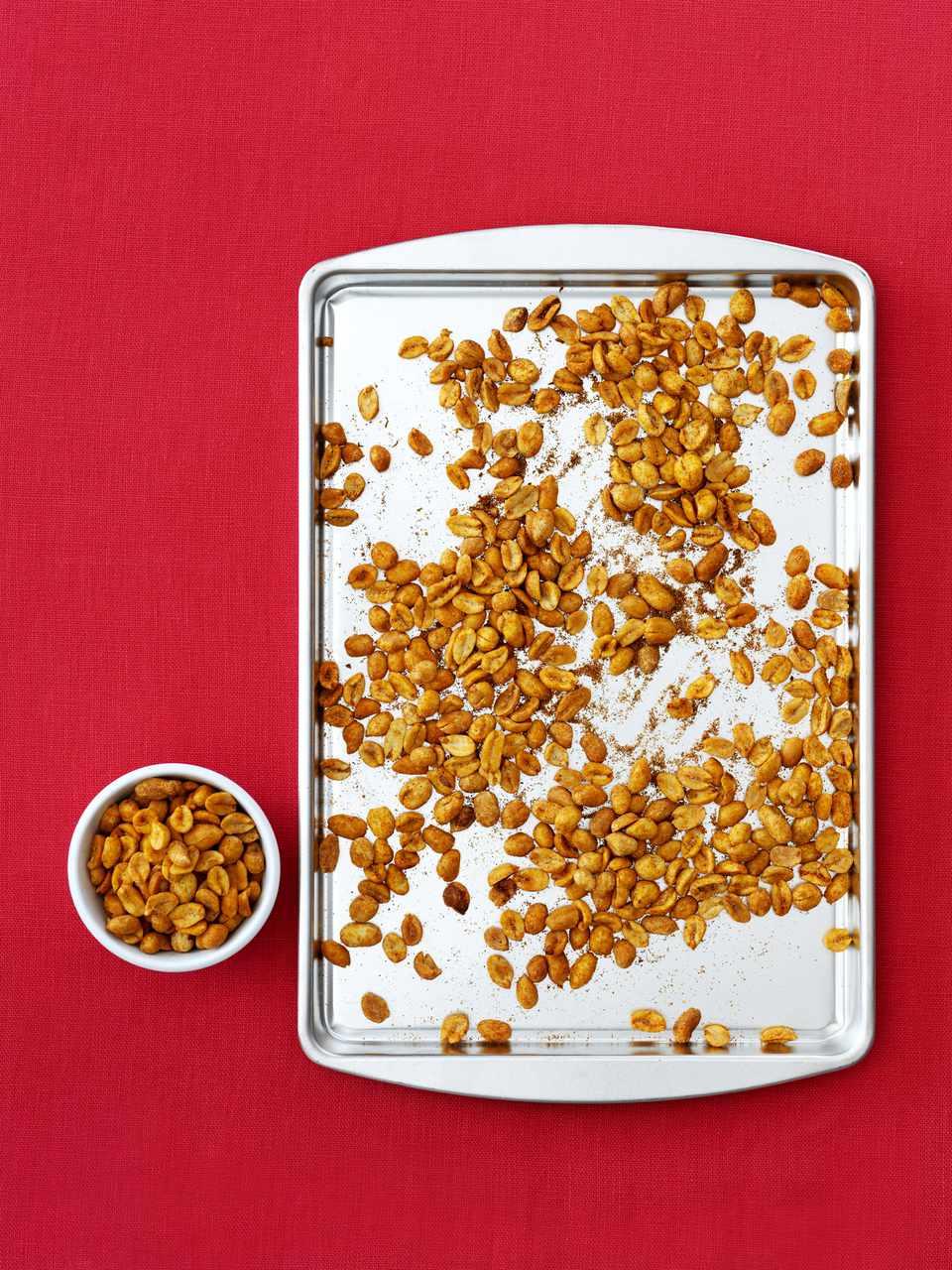 Spiced peanuts on tray