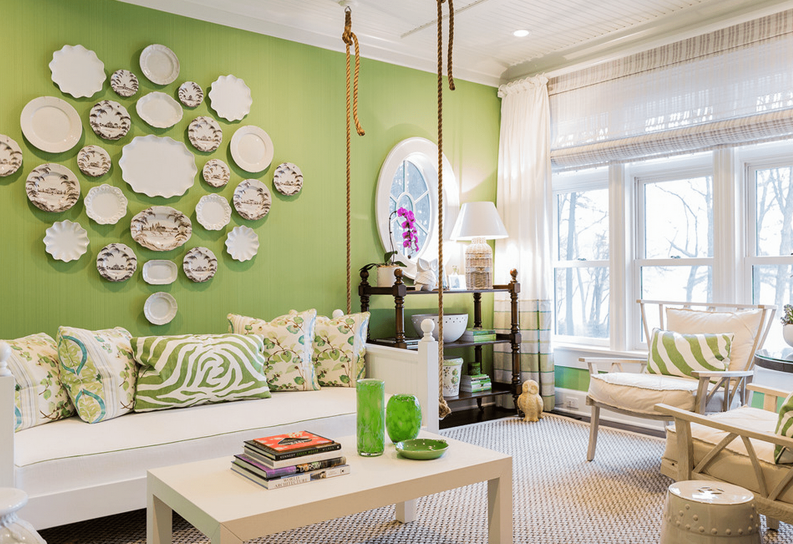 Green living room ideas for Room design green