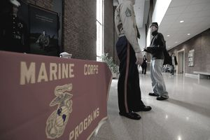 U.S. Marines Speak With Rutgers University Undergrads During A Recruitment Drive