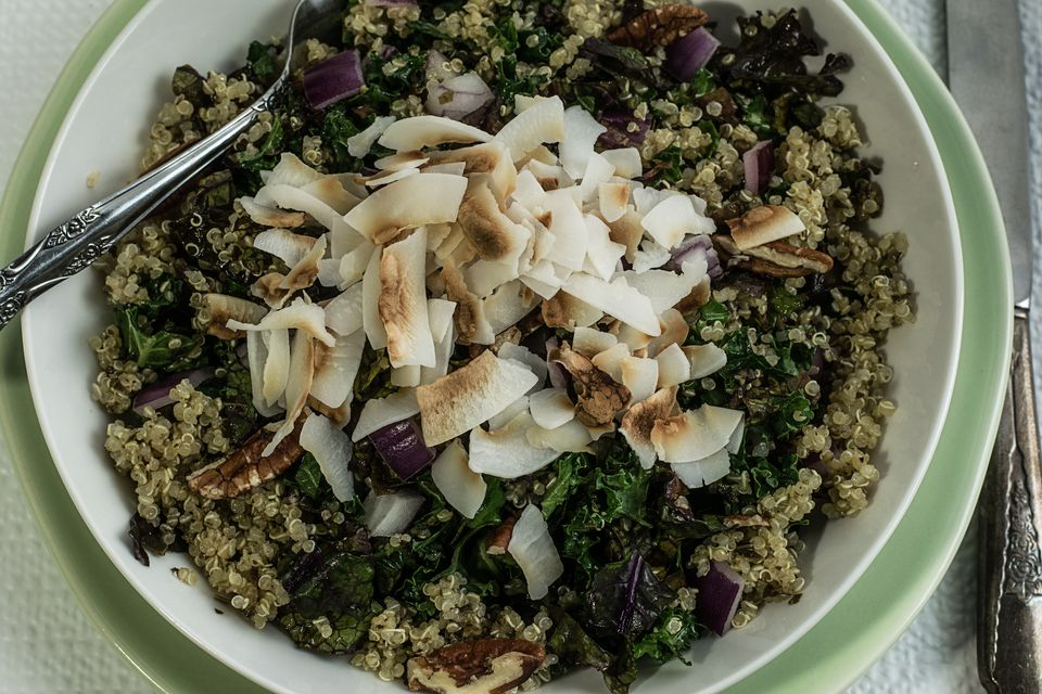 overhead view of a kale and quinoa salad