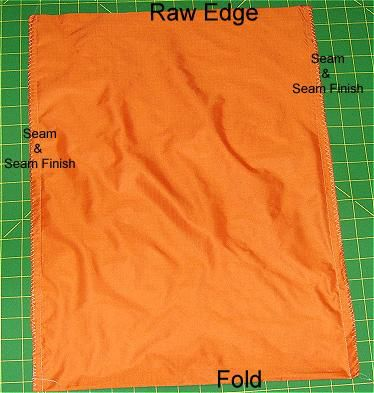 Photo of the sewn side seams and seam finish on a tote bag being sewn.