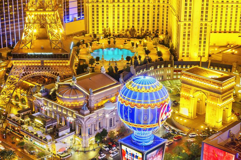 Elevated view of illuminated casinos