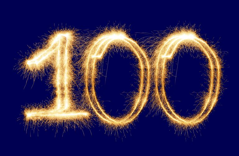 the number 100 in sparkly light