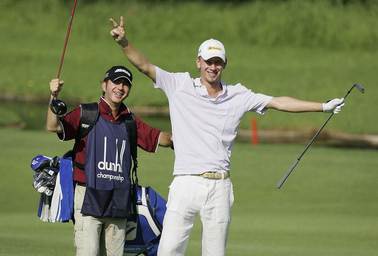 Pro golfer Marcel Siem celebrates making a double eagle
