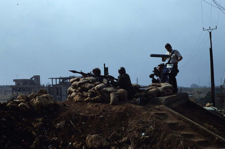 PLO fighters with 30mm machine gun and mortar November 3, 1983 near Baddawi Camp, Lebanon.