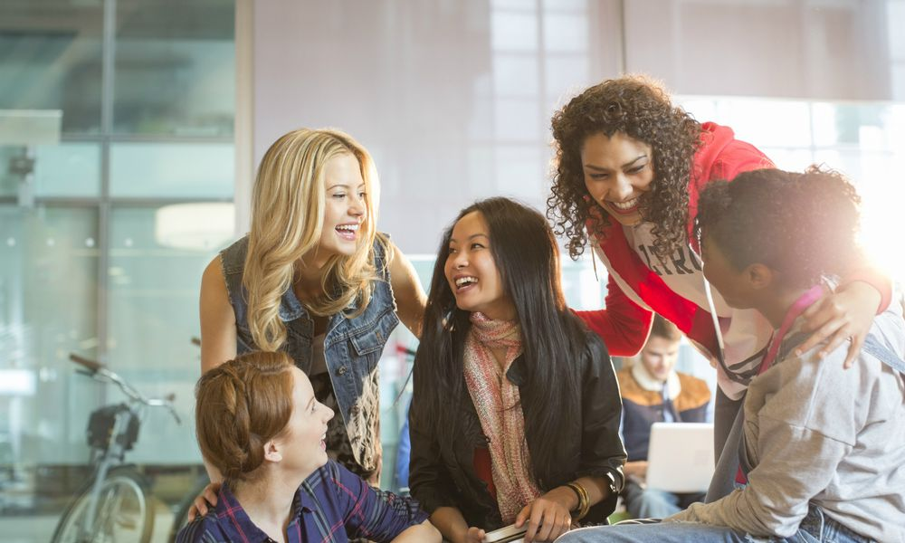 Group of girl friends laughing
