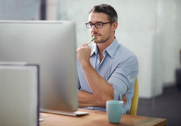 Many thinking while at computer