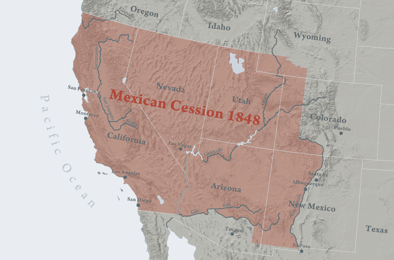 Map illustrating the territories ceded by Mexico to the U.S. in 1848