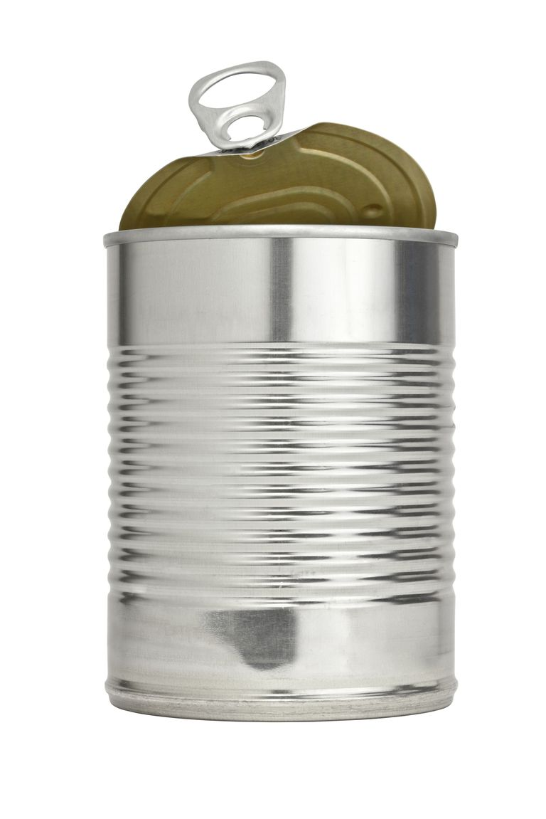 Open can with tab lined with harmful BPA