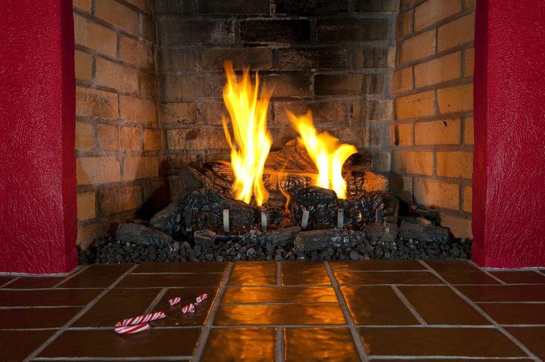 Yule Log Burning in Fireplace