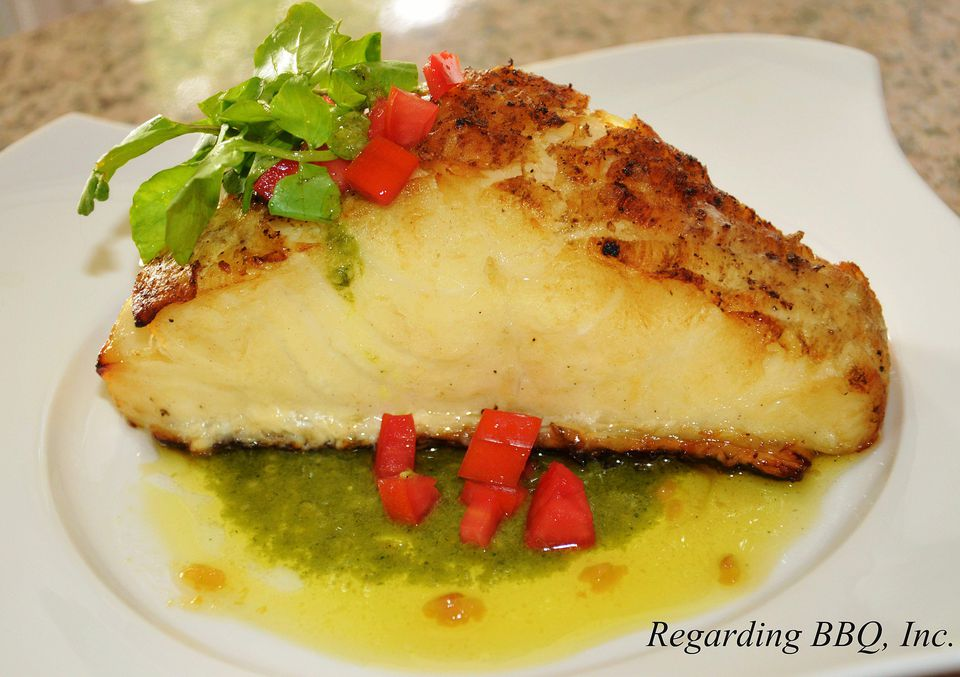 Grilled Chilean Sea Bass with Garlic Butter and Oregano Pesto