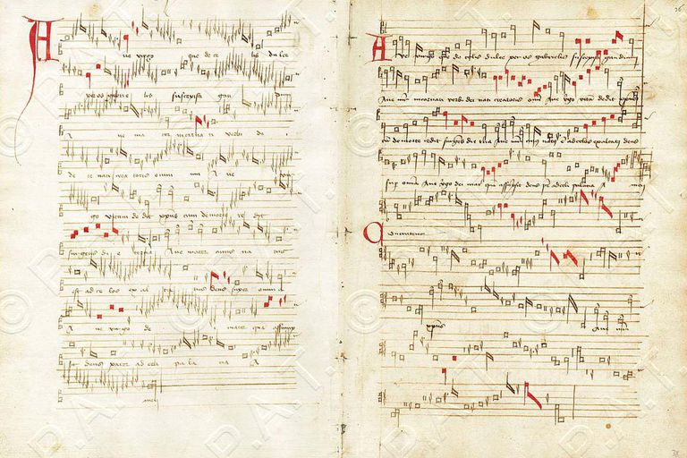 "Handwritten score for ""Ave Virgo"", by Guillaume Dufay."
