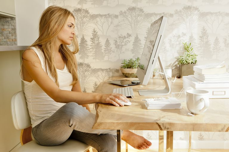 woman using computer athome