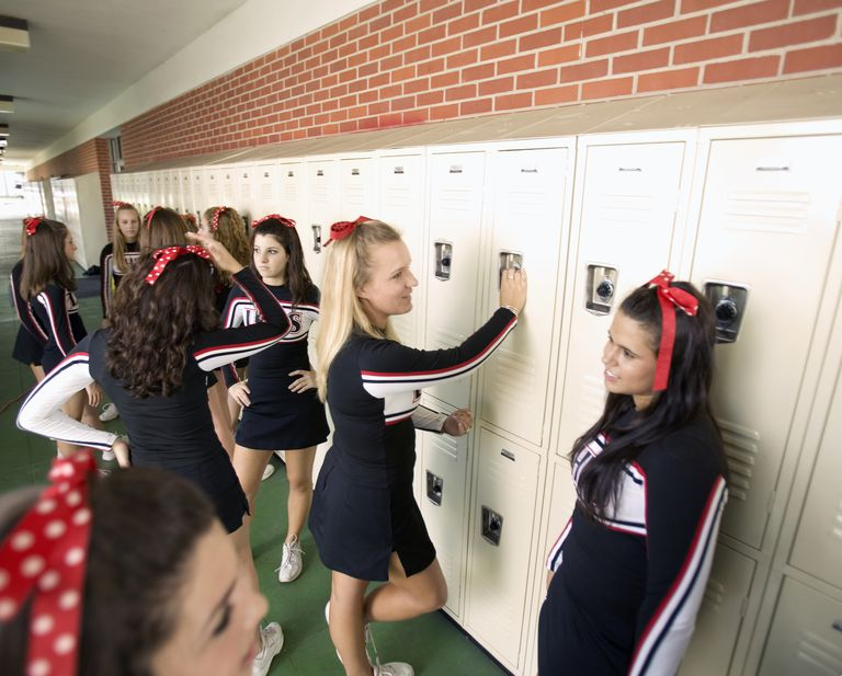 Cheerleaders at Lockers between Classes