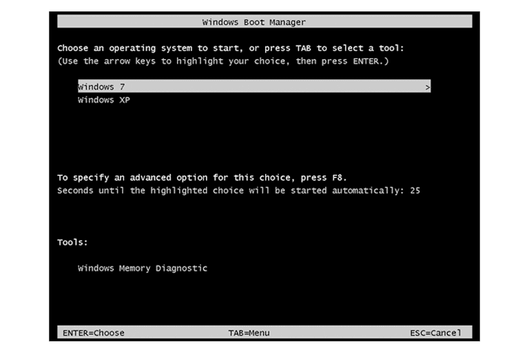 Screenshot of the Windows Boot Manager