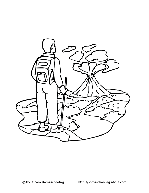 print the pdf volcano coloring page