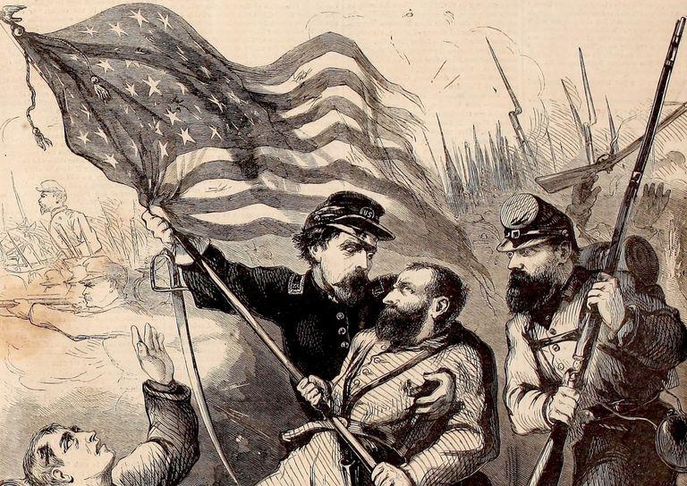 Civil War flag bearer depicted on cover of Harper's Weekly
