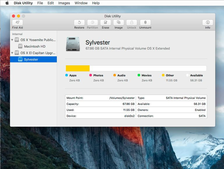 OS X El Capitan Disk Utility