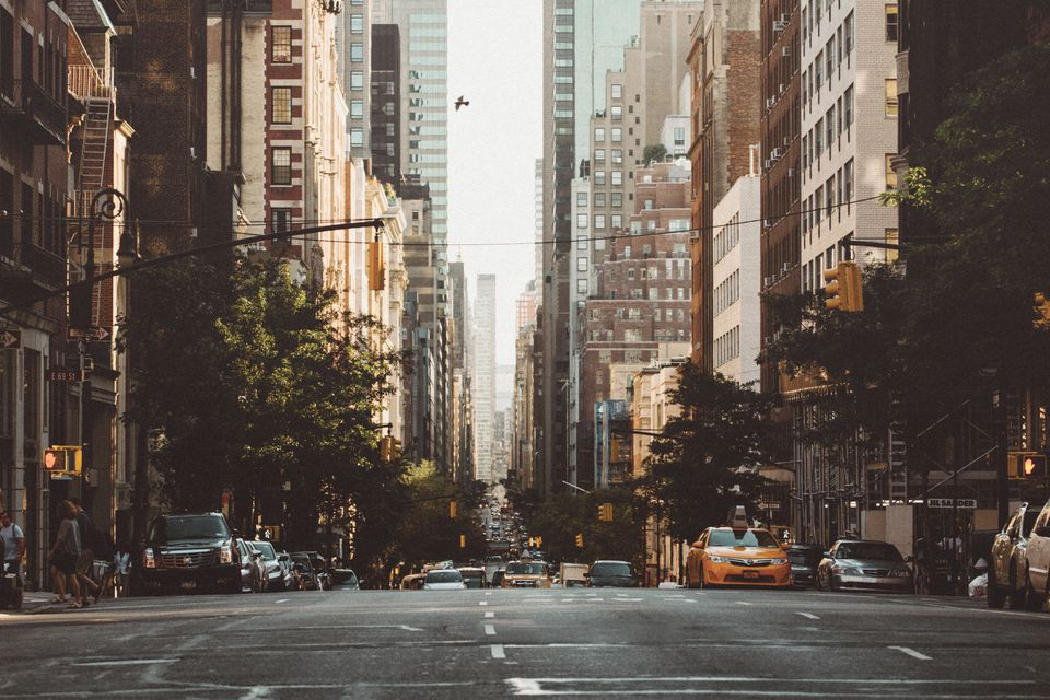 A New York avenue on a Sunday morning.